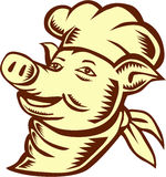 Pig Chef Cook Head Looking Up Woodcut Royalty Free Stock Photography