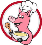 Pig Chef Cook Holding Bowl Cartoon Royalty Free Stock Photography