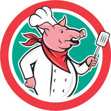 Pig Chef Cook Holding Spatula Circle Cartoon Royalty Free Stock Photo