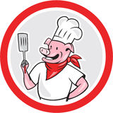 Pig Chef Cook Holding Spatula Circle Cartoon Stock Image