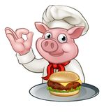 Pig Chef Holding Burger Royalty Free Stock Images