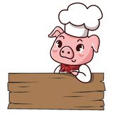 Pig chef holds a sign stock illustration