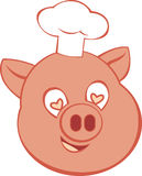 Pig Chef Logo. Animal character icon for bacon themed designs Stock Photography