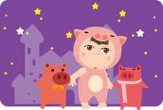 Pig and child. Abstract illustration of Pig and child Royalty Free Illustration
