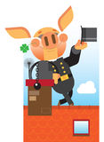 Pig Chimney Sweep.Good luck Royalty Free Stock Photos
