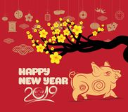 Pig chinese new year with blossom and firecracker.  Stock Photo