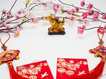 "Pig 2019 Chinese New Year. Decoration Pig 2019 Chinese New Year on white background, Empty space for design, Chinese characters translation: ""FU "" royalty free stock image"
