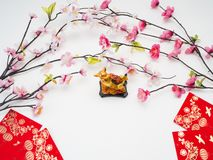 "Pig 2019 Chinese New Year. Decoration Pig 2019 Chinese New Year on white background, Empty space for design, Chinese characters translation: ""FU "" royalty free stock photos"
