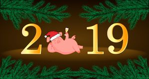 Pig. Chinese New Year. The year of the pig. Cut animal. New Year pig. Post card stock illustration