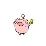 Pig on Christmas. Piggy sing and play tambourine Royalty Free Stock Photos