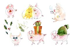 Pig and Christmas gifts. Christmas sketch. Watercolor illustration vector illustration