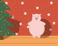 Pig at the Christmas tree in the hous. Pig at the Christmas tree in the room, Christmas illustration with the symbol of the year stock illustration