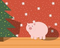 Pig at the Christmas tree. In the room, Christmas illustration with the symbol of the year royalty free illustration