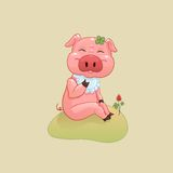 Pig and clover Royalty Free Stock Images