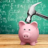 Pig. Coin Bank Hammer Broken Humor Breaking Sadness Royalty Free Stock Image