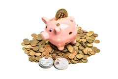 Pig coin bank  with bitcoin Royalty Free Stock Photo