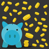 Pig a coin box with coin background. Pig a coin box with coin background for artwork Royalty Free Stock Image