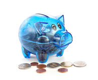 Pig a coin box with coins Royalty Free Stock Images