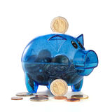 Pig a coin box with coins Stock Photography