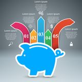 Pig coin - business infographic. Vector eps 10 Royalty Free Stock Photography