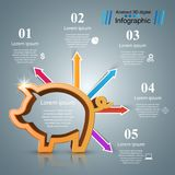 Pig coin. Bussines infographic. Marketing icon. Vector eps 10 Royalty Free Stock Photo