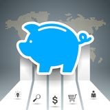 Pig coin. Bussines infographic. Marketing icon. Vector eps 10 Royalty Free Stock Photos