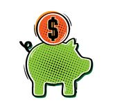 Pig and coin Stock Photography