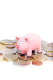 Pig on coins Royalty Free Stock Images