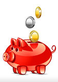 Pig with coins Royalty Free Stock Image