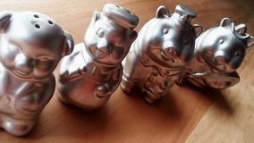 Pig collection. Pigs figurines i love Royalty Free Stock Photo
