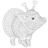 Zentangle pig piggy coloring page. Pig. Coloring page. Coloring book. Anti stress colouring picture with cute piggy. 2019 Chinese New Year animal symbol vector illustration