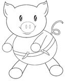 Pig coloring page Royalty Free Stock Photos