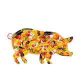 A pig, composed of fruit and vegetables Royalty Free Stock Photography