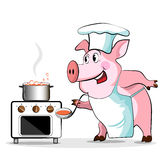 Pig cook - chef holds Stock Photography