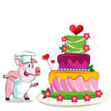 Pig cook - chef holds. Birthday Cake. Background illustrations Stock Photos