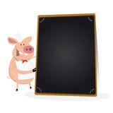 Pig Cook Holding Blackboard Menu Royalty Free Stock Photo