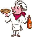 Pig Cook Pie Wine Bottle Cartoon Stock Photography
