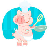 Pig cook in the shell. In the kitchen Royalty Free Illustration