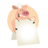 Pig Cook Sign. Illustration of a cartoon pig cook showing his menu standing like a sandwich Stock Photography