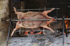 Pig cooks slowly on enormous steel spit in the gigantic fireplac. Great stuck pig that cooks slowly on enormous steel spit in the gigantic fireplace Stock Photos