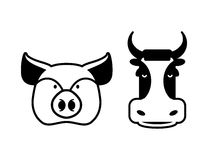 Pig and cow icons. Head farm animal stencil. Pork and beef sign Stock Photography