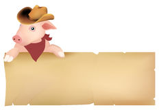 Pig with cowboy hat. Pig in a cowboy hat keeping blank paper Royalty Free Stock Photos
