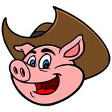 Pig with Cowboy Hat Royalty Free Stock Photography