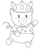 Pig with a crown coloring page Stock Images