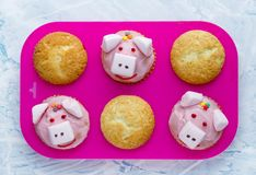 Pig cupcakes, animal shaped funny cakes for kids. Party, piggy cupcakes with pink frosting and marshmallow royalty free stock image