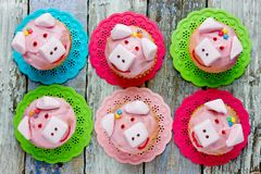Pig cupcakes, animal shaped funny cakes for kids. Party, piggy cupcakes with pink frosting and marshmallow royalty free stock photo