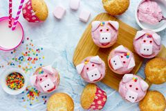 Pig cupcakes - homemade cakes with pink cream and marshmallow. Shaped funny piggies for kids party royalty free stock photo