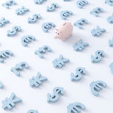 Pig and currencies Royalty Free Stock Photo