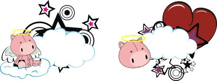 Pig cute cartoon angel copyspace Stock Photos
