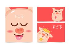 Pig, cute cartoon cover book wraping A4 layout, banner, Chinese New Year, year of the pig with gold shiny background texture. Vector illustration vector illustration